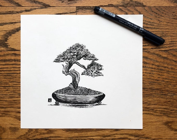 KillerBeeMoto: Pen And Ink Sketch of Bonsai Tree (Limited Prints Also Available)