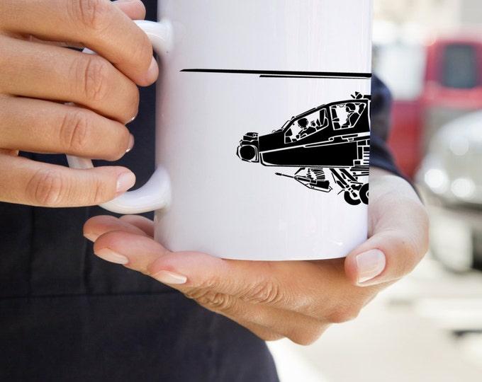 KillerBeeMoto:   Coffee Mug AH-64 Apache Attack Helicopter Coffee Mug