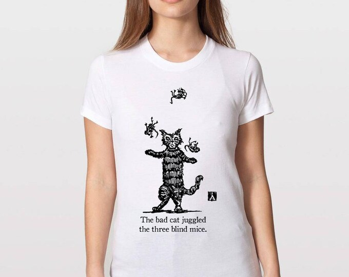 KillerBeeMoto: The Bad Cat Juggled The Three Blind Mice Short or Long Sleeve T-Shirt