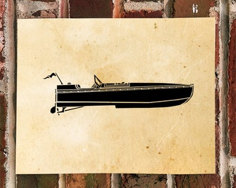 KillerBeeMoto: Vintage Wooden Speedboat Limited Print