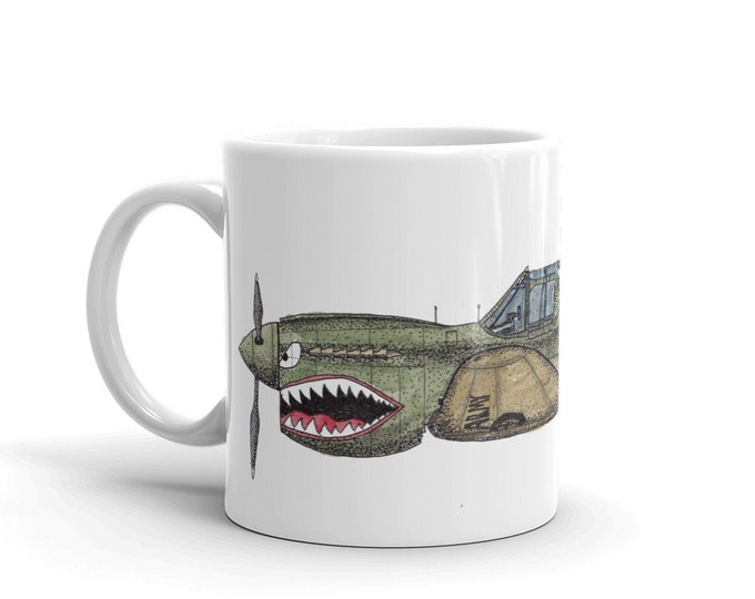 KillerBeeMoto:  Flying Tigers P-40 Warhawk Cartoon Style Coffee Mug (White)