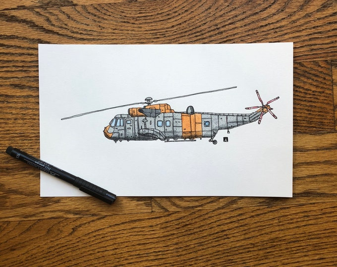KillerBeeMoto: Original Pen & Ink Drawing of Sea King Helicopter (Limited Prints Also Available)
