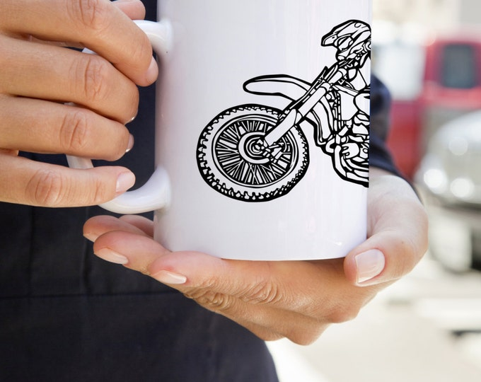 KillerBeeMoto:    Coffee Mug With Dirt Bike Rider