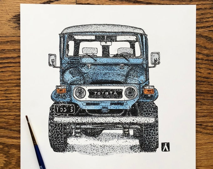 KillerBeeMoto: Original Pen Sketch of Vintage FJ40 (Limited Prints Also Available)