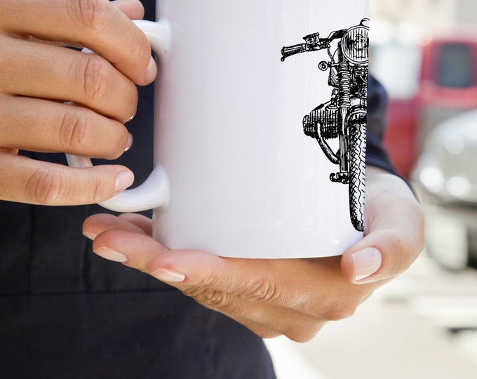 KillerBeeMoto:   Limited Release Vintage Cafe Racer Coffee Mug With Hand Sketched Graphic