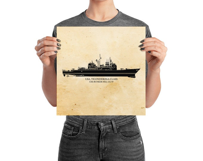 KillerBeeMoto: Ticonderoga Class Cruiser US Navy Vessel Print With Custom Vessel Name Option