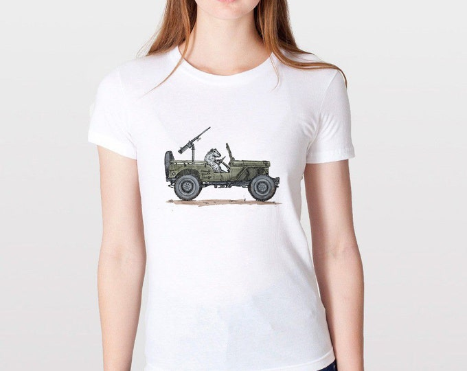 KillerBeeMoto: Sheep In a Military Vehicle With Four Wheels  Hand Drawn Art (WHITE)