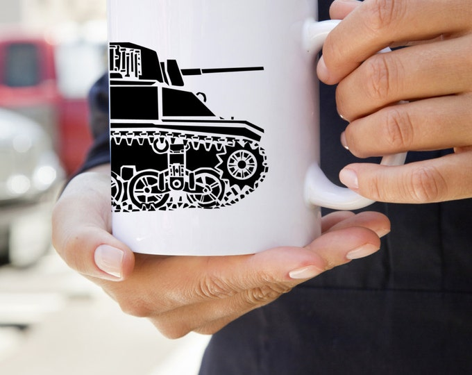 KillerBeeMoto:    World War 2 M3 Stuart Tank Coffee Mug (White)