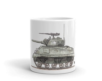 KillerBeeMoto:   Coffee Mug Hand Drawn Graphic of Sherman Tank With Water Color