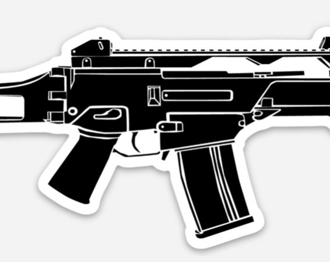 KillerBeeMoto: Vinyl Sticker of a G36 Battle Rifle Hand Drawn Illustration