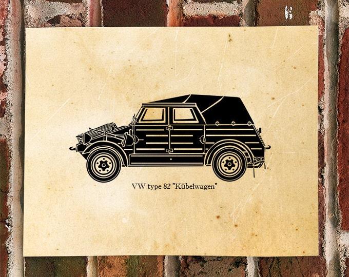 KillerBeeMoto: Type 82 Kubelwagen Vintage German Military Car Limited Print 1 of 100