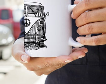 KillerBeeMoto:   Limited Release Hand Drawn Design of German Engineered Hippie Transport Mug (White)