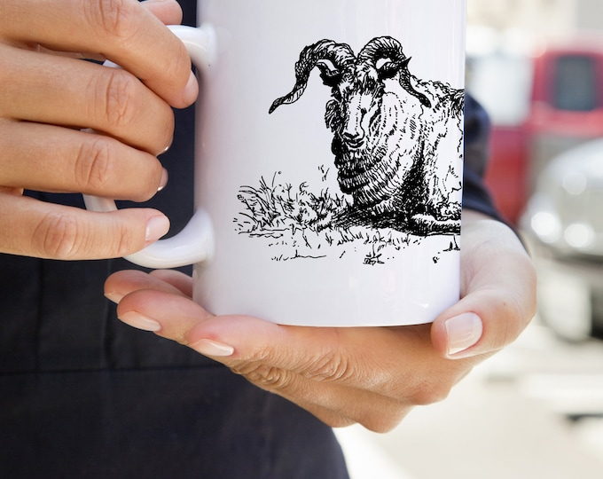 KillerBeeMoto:   Coffee Mug With Hand Drawn Ram Sheep Sketch Design