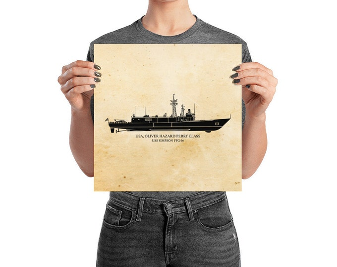 KillerBeeMoto: Oliver Hazard Perry Class Frigate Print With Custom Vessel Name Option