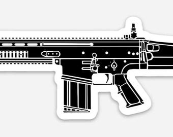 KillerBeeMoto: Vinyl Sticker of SCAR Battle Rifle Hand Drawn Illustration