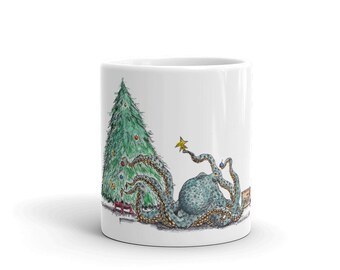 KillerBeeMoto: Christmas Coffee Mug Of Octopus Decorating A Christmas Tree