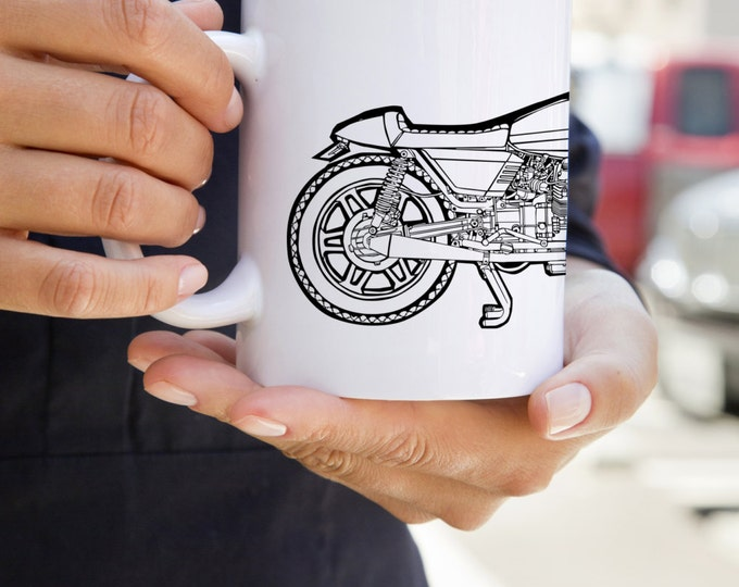 KillerBeeMoto:   Coffee Mug Limited Release Italian Engineered Vintage Custom Cafe Racer Cartoon Style Coffee Mug (White)