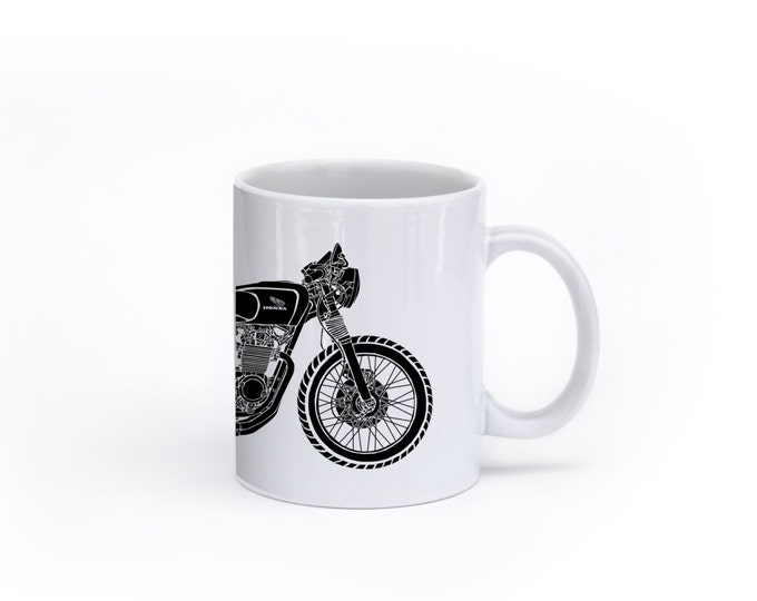 KillerBeeMoto:    Coffee Mug Limited Release Lossa Engineering Japanese 550cc Motorcycle Custom Cafe Racer Coffee Mug (White)