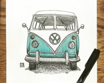 KillerBeeMoto: Original Pen Drawing With Water Color of Vintage VW Hippie Bus