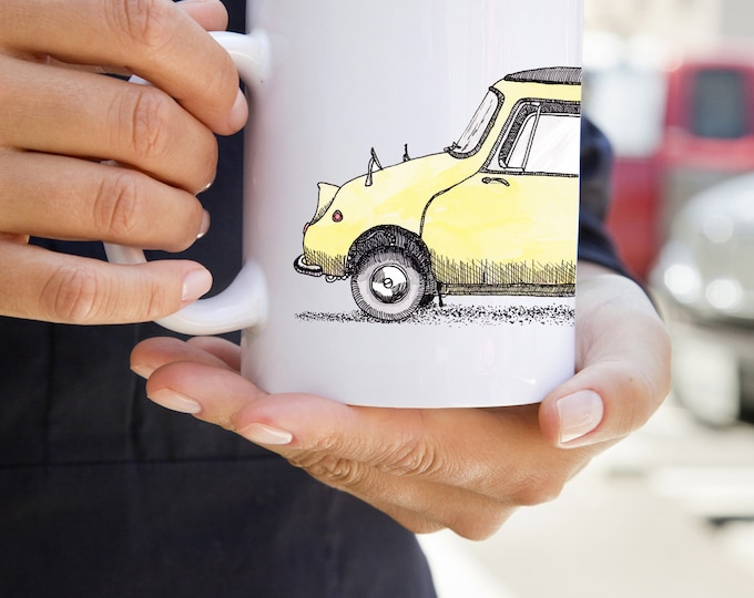 KillerBeeMoto:   Limited Release Japanese Vintage Micro-Car On White Mug