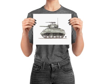 KillerBeeMoto: Pen & Ink Drawing of Sherman Tank With Water Color (Prints Also Available)