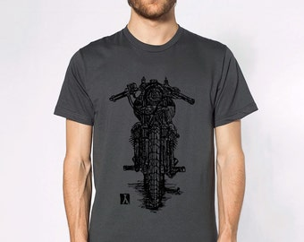 KillerBeeMoto: Limited Release Vintage Italian Engineered Cafe Racer V-Twin Motorcycle Pen Sketch Short And Long Sleeve Motorcycle Shirt