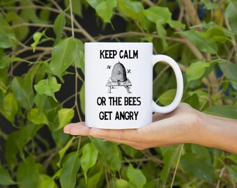 KillerBeeMoto:  Beekeepers   Coffee Mug Keep Calm Or The Bees Get Angry