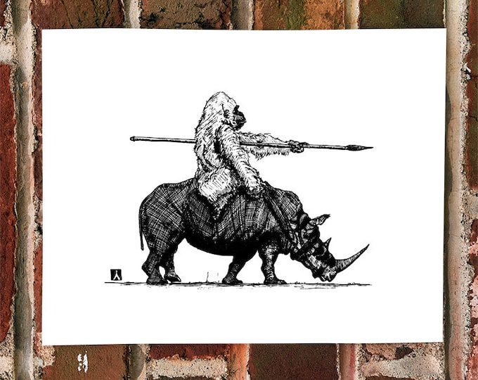 KillerBeeMoto: Limited Print of Gorilla Riding A War Rhinoceros