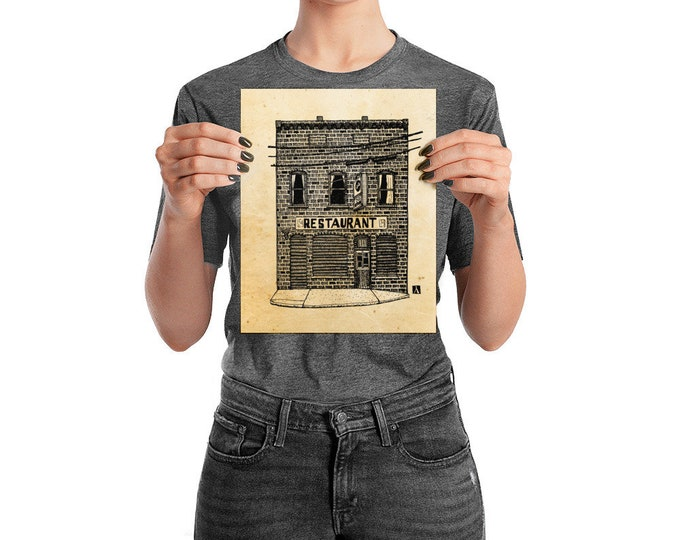 KillerBeeMoto: Pen And Ink Sketch Print of Charlottesville City Restaurant C And O (Original Drawing Also Available For Sale)