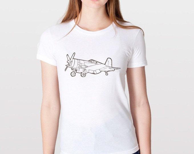 KillerBeeMoto: F4U Corsair Fighter Plane Short & Long Sleeve Shirt Cartoon Version