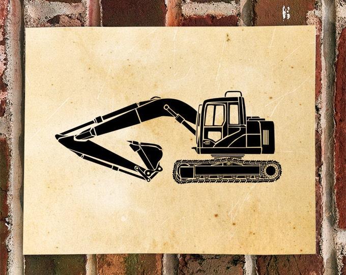 KillerBeeMoto: Construction Equipment Excavator Print