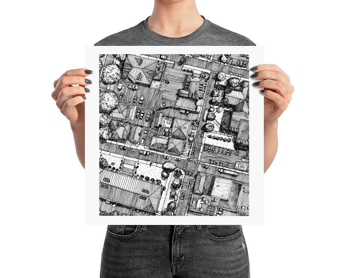 KillerBeeMoto: Original Pen and Ink Drawing of Downtown Charlottesville Near McGuffy Art Center (Prints Also Available)