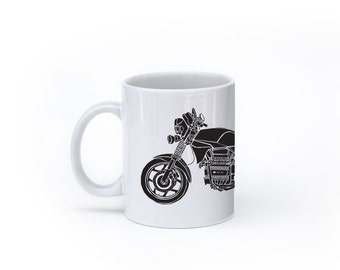 "KillerBeeMoto:   Limited Release 1980's Germanic Motorcycle ""Flying Brick"" Coffee Mug (White)"