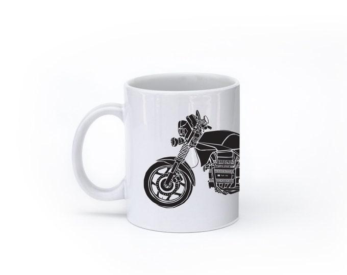 "KillerBeeMoto:   Limited Release 1980's Germanic Motorcycle ""Flying Brick"" Coffee Mug (White)"