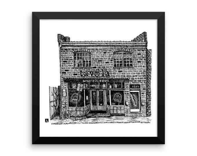 Unframed Pen Sketch Print of the Italian Restaurant Tavola in Charlottesville Virginia