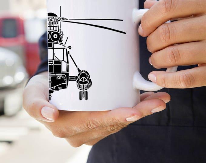 KillerBeeMoto: SH-3 Sea King Military Helicopter On Coffee Mug (White)