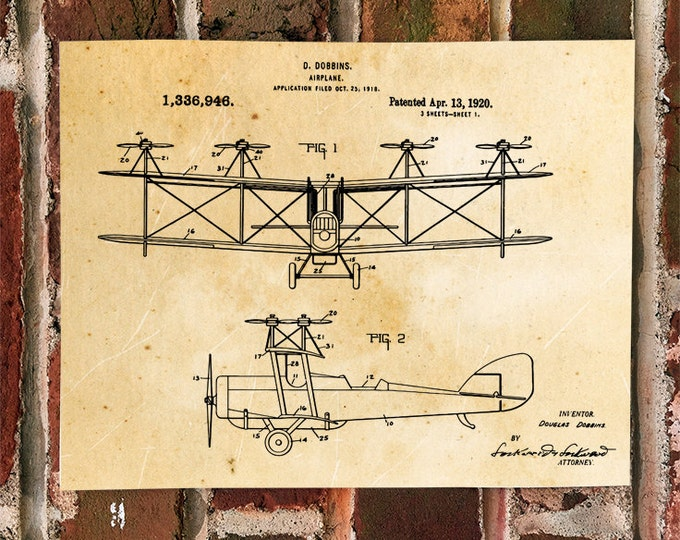 KillerBeeMoto: Duplicate of Original U.S. Patent Drawing For Vintage Biplane With Vertical Props