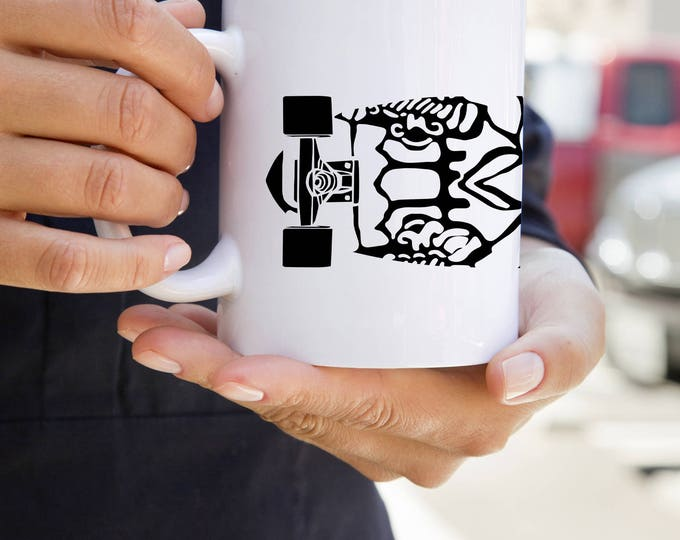 KillerBeeMoto:   Coffee Mug With Mayan Design on Skateboard