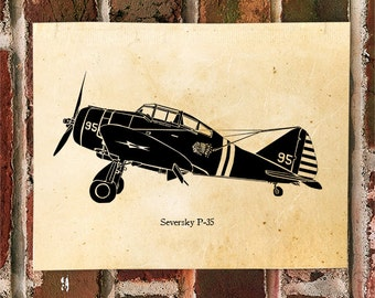 KillerBeeMoto: Limited Print Seversky P-35 Aircraft Print 1 of 50