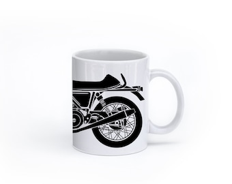 KillerBeeMoto:    Coffee Mug Limited Release British Engineered 750cc Cafe Racer Motorcycle Mug (White)