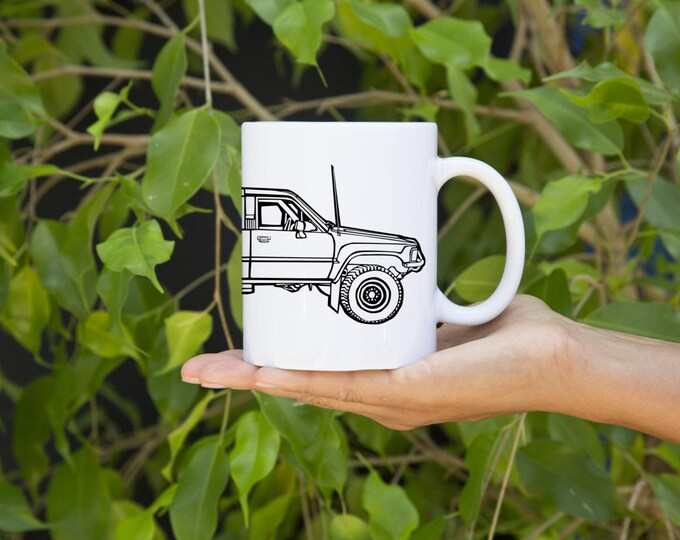 KillerBeeMoto:   Limited Release Japanese Four Wheel Drive Off Road Surf Vehicle Side View Coffee Mug (White)