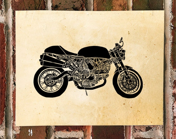 KillerBeeMoto: Limited Print Italian Cafe Racer Motorcycle Print 1 of 50