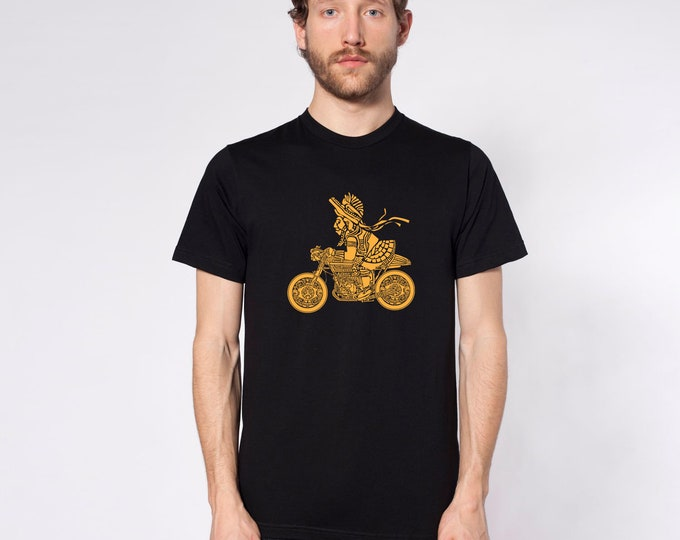 KillerBeeMoto: Mayan Warrior On Cafe Racer Motorcycle Short or Long Sleeve T-Shirt