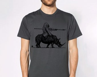 KillerBeeMoto: Ink Sketch of Gorilla Riding A War Rhino Short or Long Sleeve T-Shirt