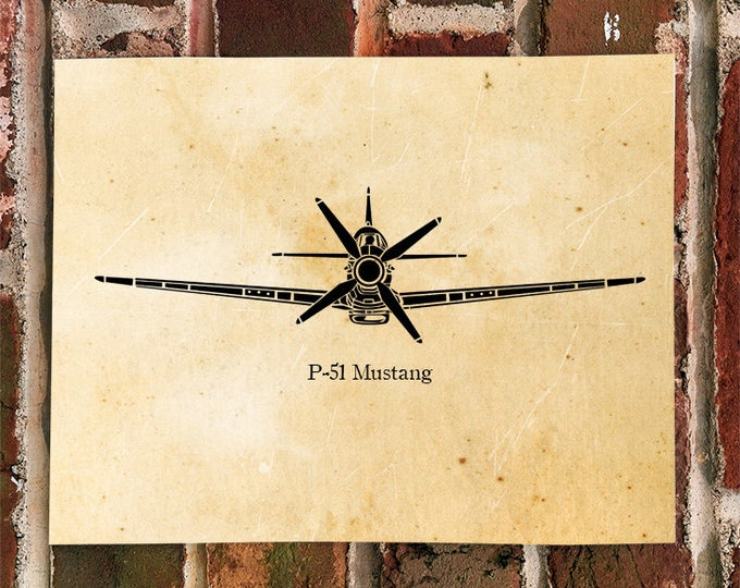 KillerBeeMoto: Limited Print P-51 Mustang Fighter Aircraft Front View Print 1 of 50