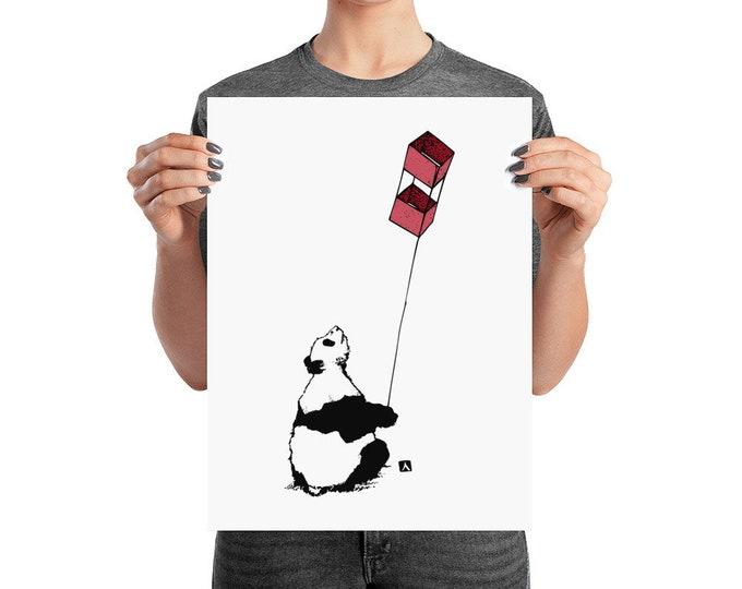 KillerBeeMoto: Panda Bear Flying A Kite Print (Original Drawing Also Available)