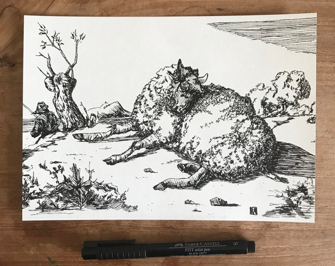 KillerBeeMoto: Original Pen & Ink Sketch of Sheep Laying Down (Prints Are Also Available)