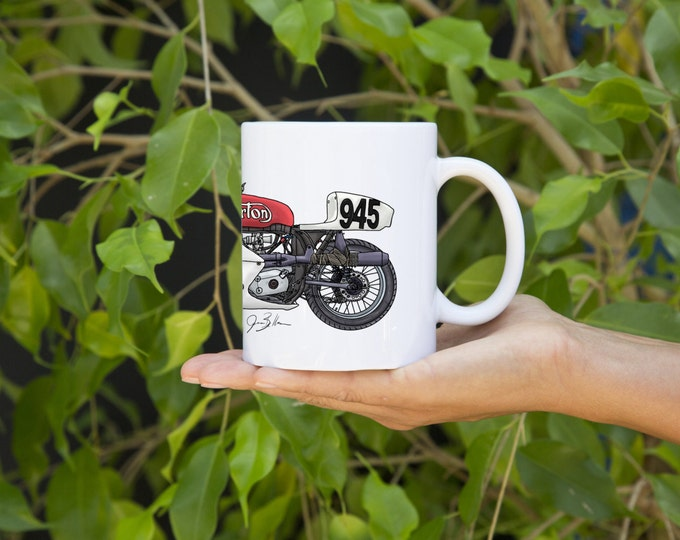 KillerBeeMoto:   Limited Release Vintage British Racing Motorcycle Coffee Mug Pen And Ink (White)