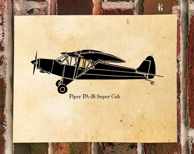 KillerBeeMoto: Limited Print PA-18 Vintage Recreational Airplane Print 1 of 100