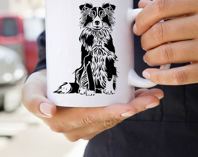 KillerBeeMoto:   Coffee Mug With Border Collie Illustration